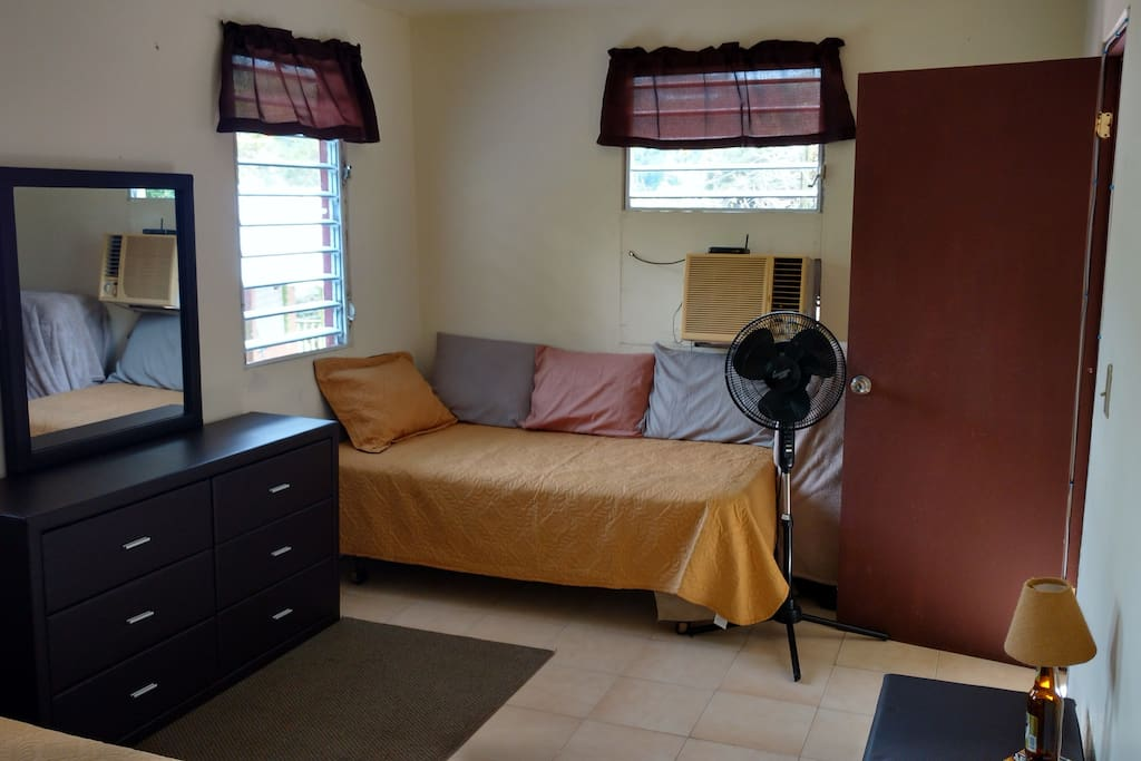 Extra twin size bed in bedroom