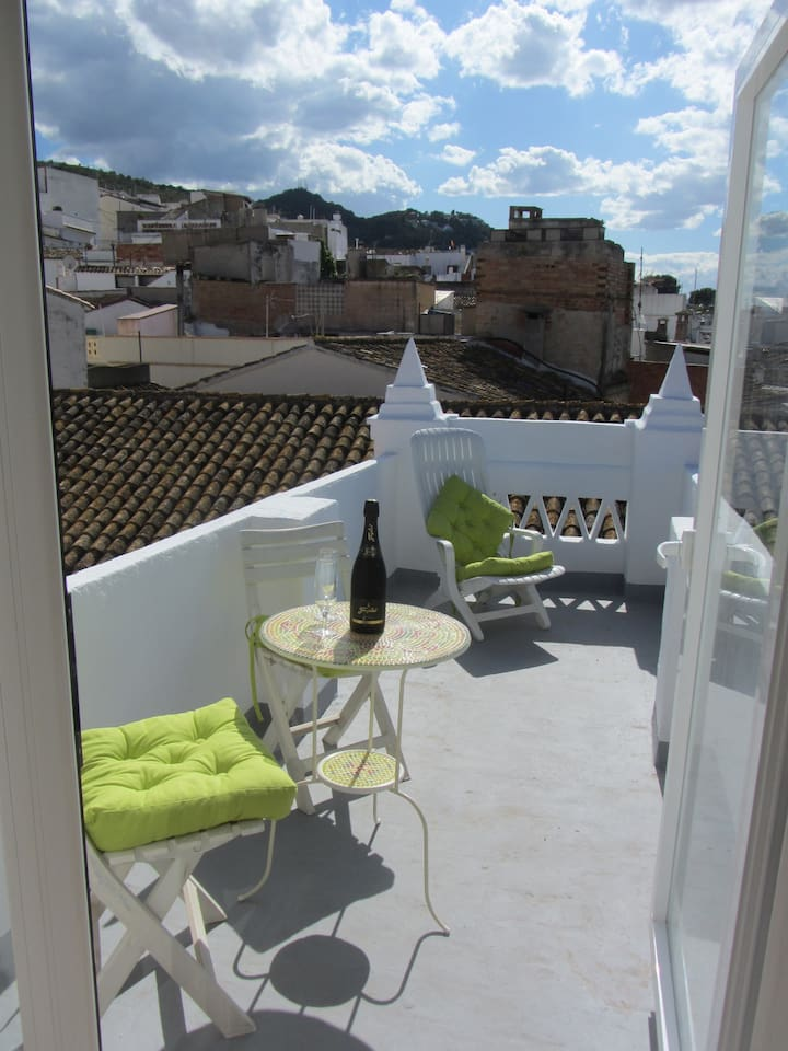 Terrace with stunning views of Old Town Oliva, the mountains and La Safor Valley,  and the Mediterranean Sea.