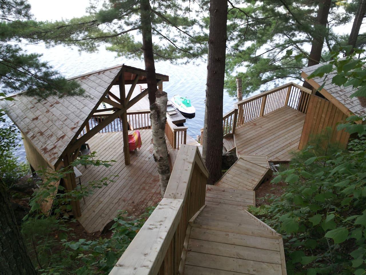 Gazebo, cabana and dock