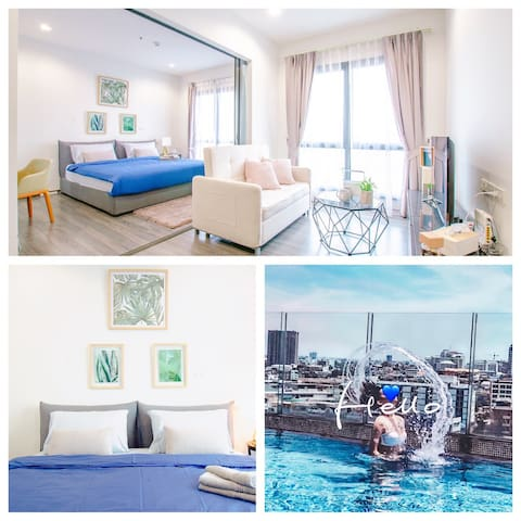 50Sqm/1 MINS WALK TO BTS/INFINITY POOL/GREAT VIEW/