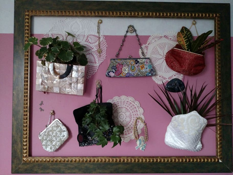 In the Garden Room you'll find this really fun framed living collage.