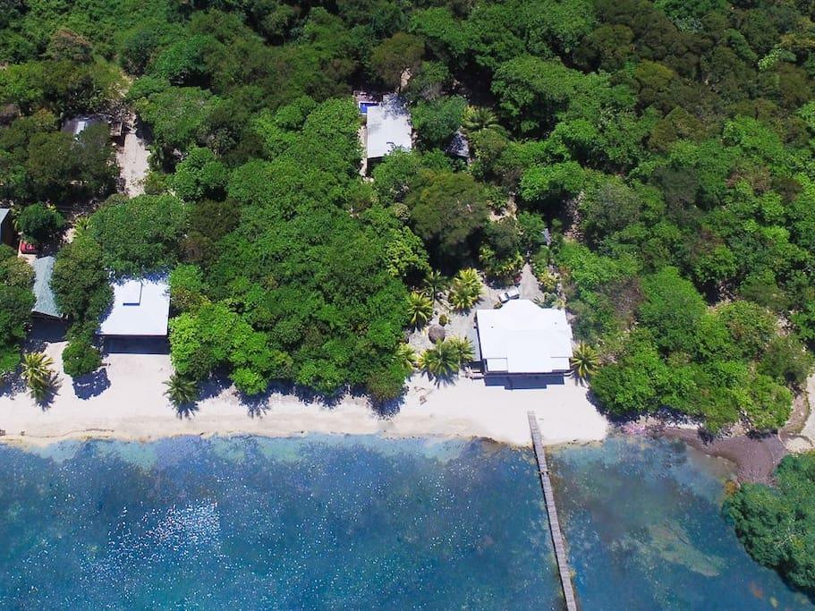 Ariel view of Santosha Beach House