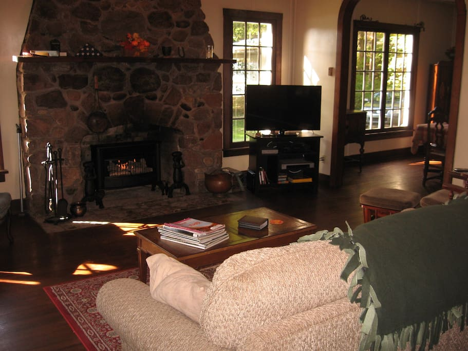 Living Room Fireplace with gas log stove