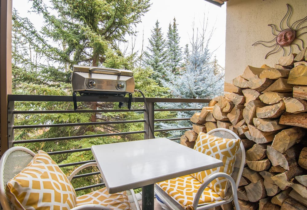 Enjoy alpine views from the balcony of your rental.