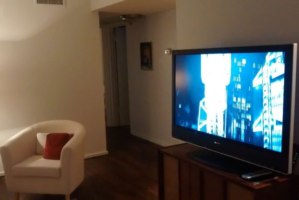 """Wireless internet and 49"""" flat screen with cable."""