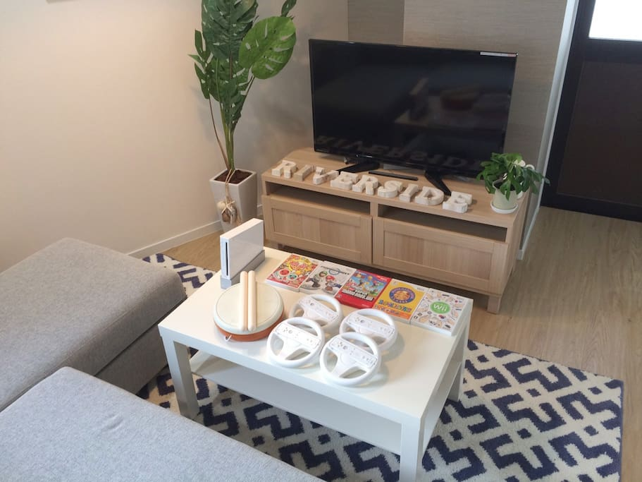 Sofa bed & TV & Wii