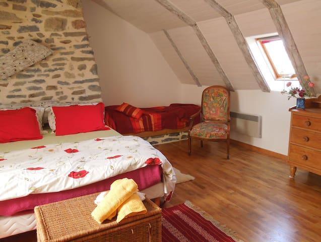 Chambre Fajol, un lit supplémentaire en 90 dans l'angle de la cheminée 19€ en sup pt dej compris