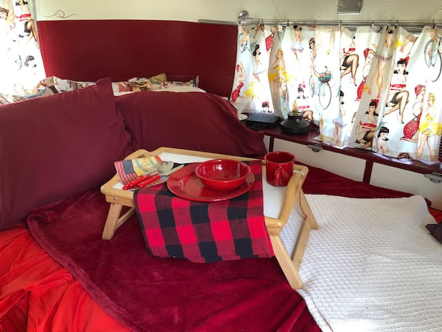 Relax with breakfast in bed! Glamping is sooo much better than camping!