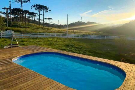 Turismo rural: sítio com piscina e 6 quartos
