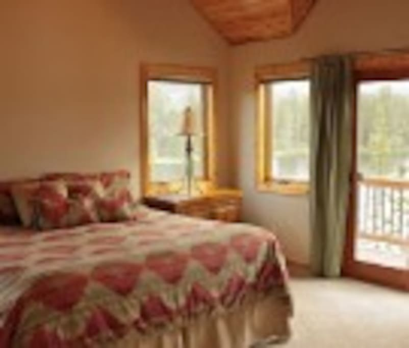 Each of the 3 king suites have a door to a deck overlooking the lake