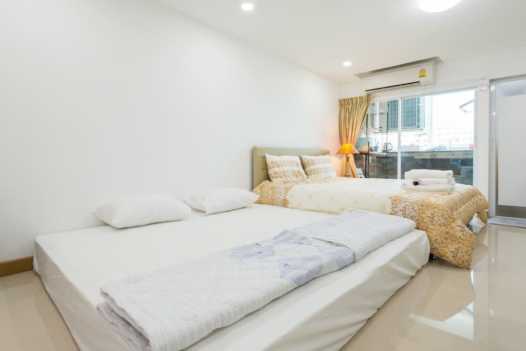 Bed room. Can arrange for 4 persons. 1 King bed and 2 single floor mattress.