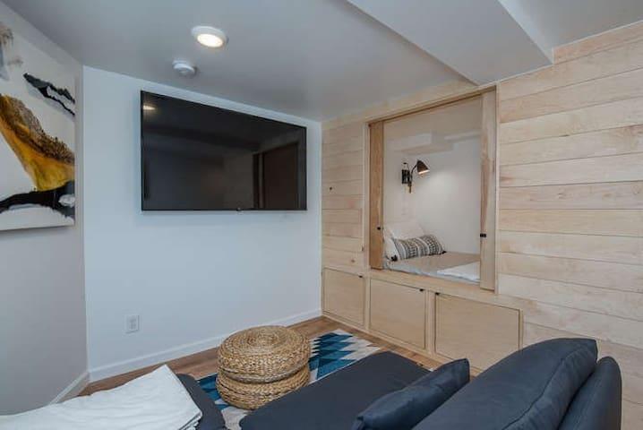 Smart tv, bedroom nook with under bed storage