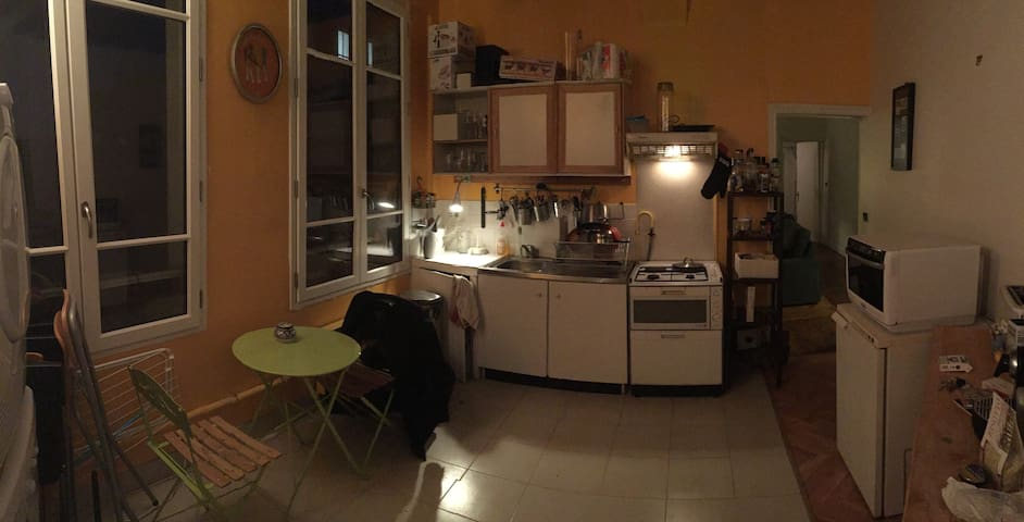 "Large Kitchen, Hoven, Microwave & ""Terrace"" like table."