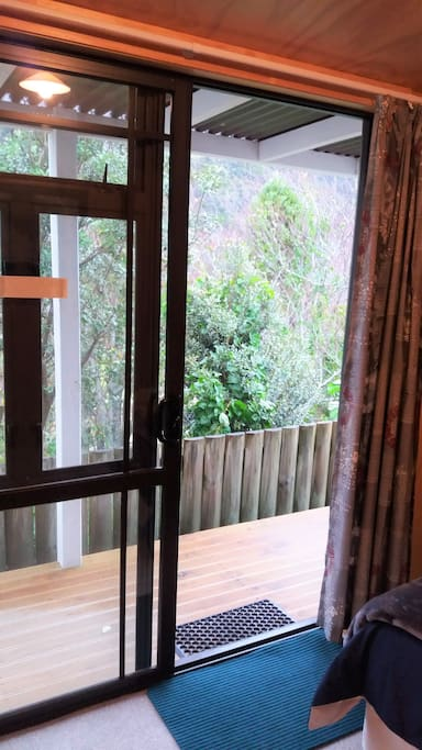 Looking out the sliding door towards your spectacular views