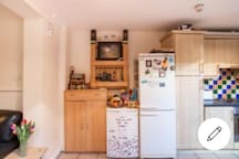 Smaller fridge is the Air Bnb fridge and is full of snacks free of charge for guests!