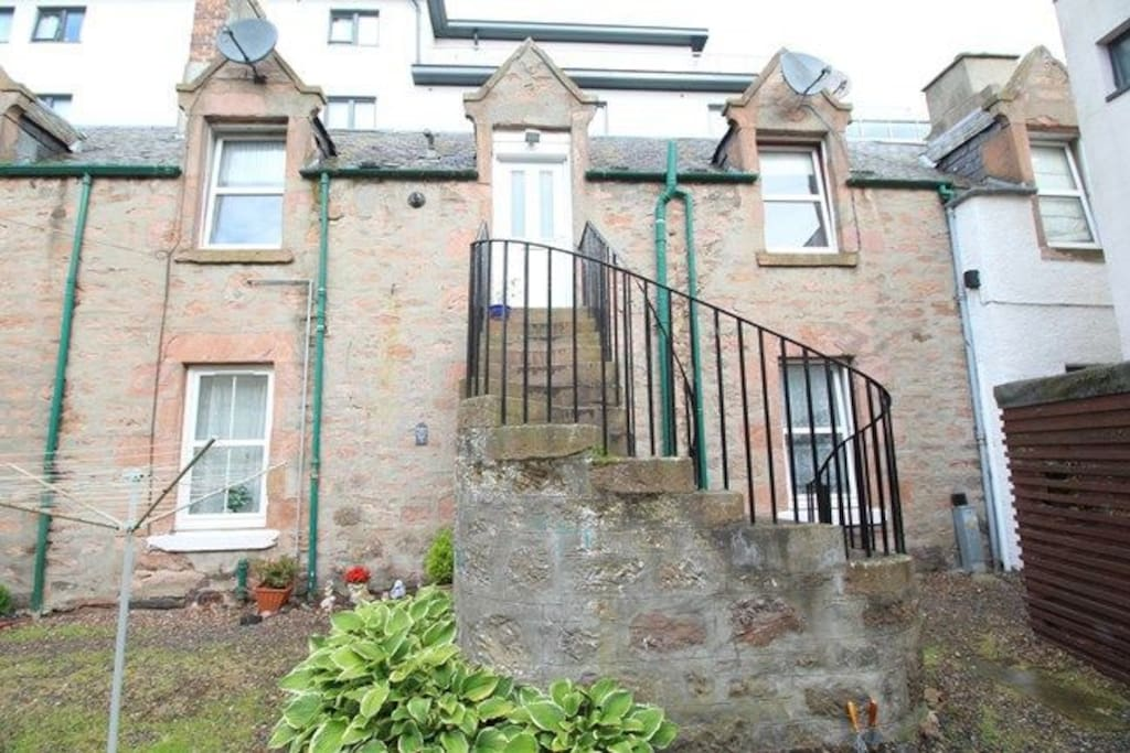 Stone steps to front door
