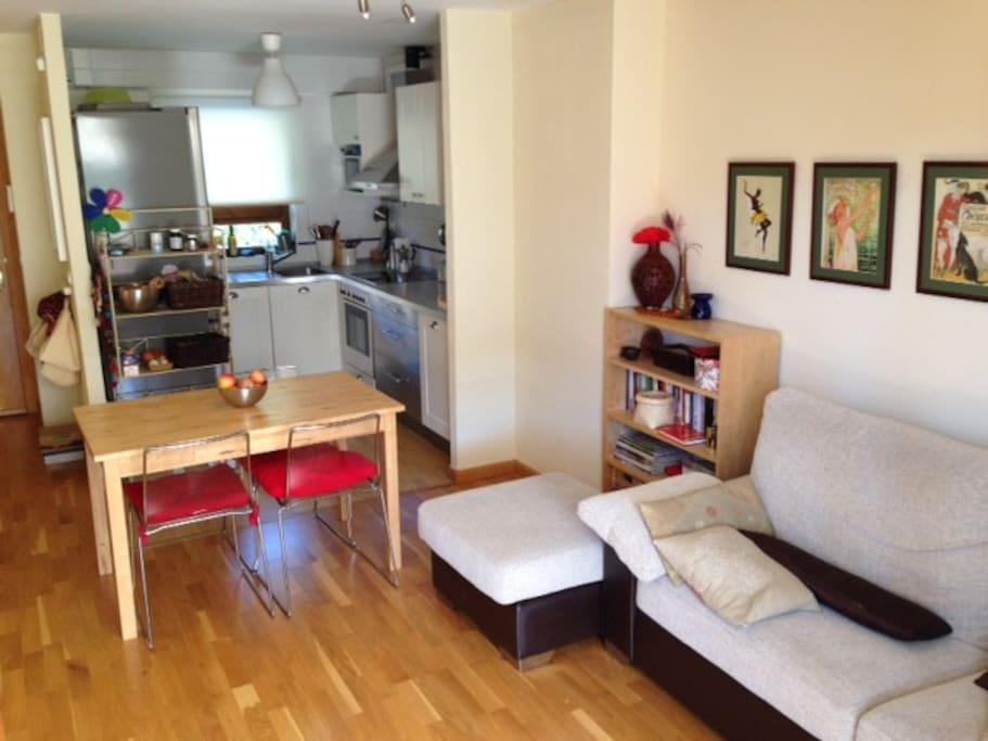 Salón comedor con cocina abierta y sofa-cama.