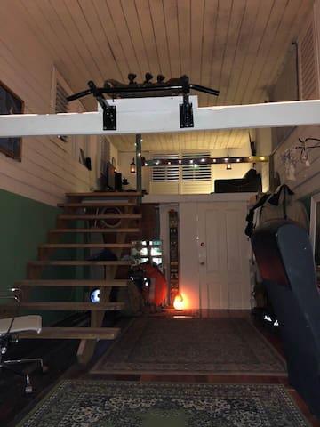 room plus upstairs attic room narrow stairs