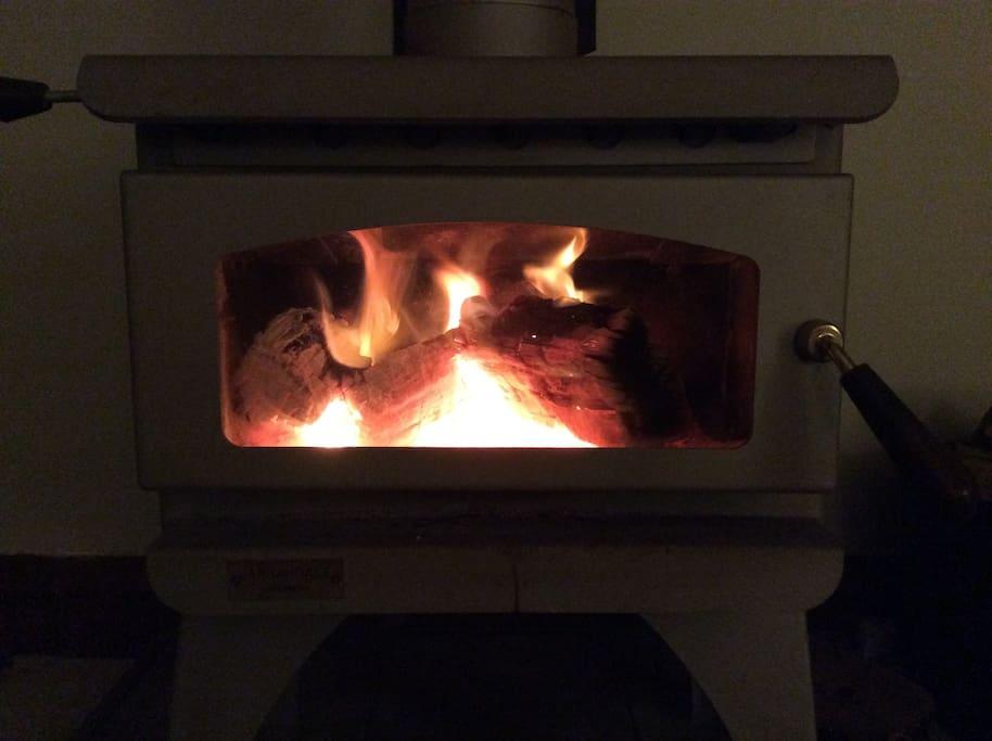 Hills comfort of a wood burning fire