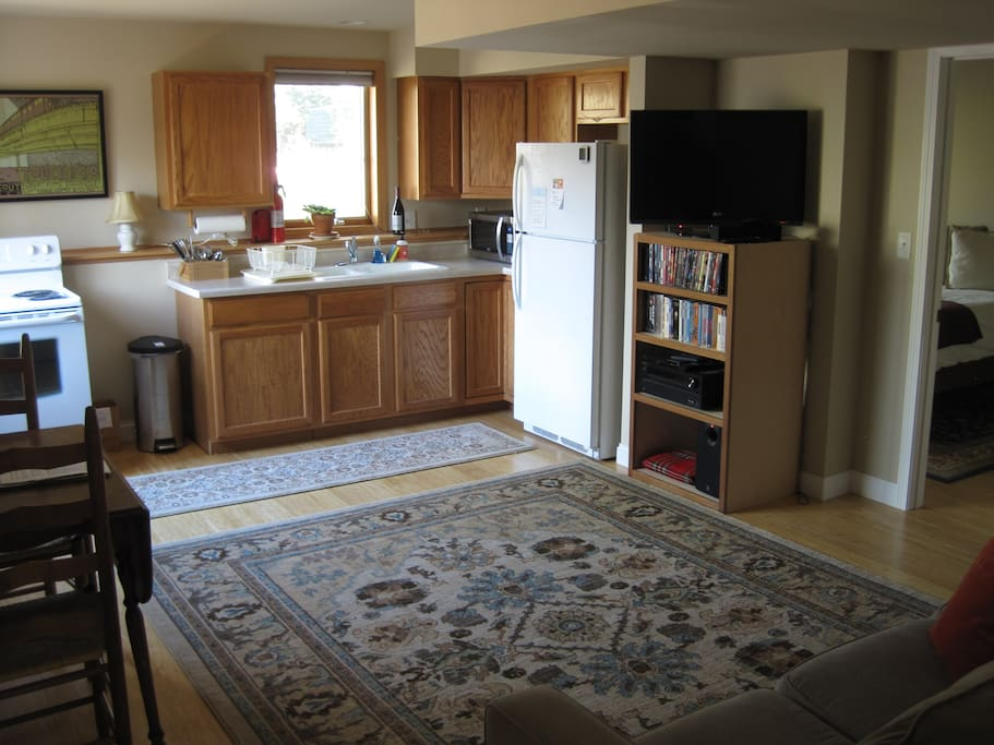 Complete kitchen including dishes, flatware, cookware, oven, stove top, microwave, coffee maker, and hot water kettle. Entertainment center with DVD player, Roku, 37 inch screen TV. Enjoy our collection of DVDs.