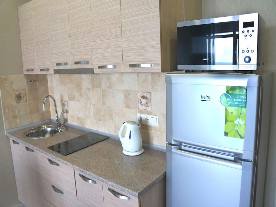 Оборудованная кухня.