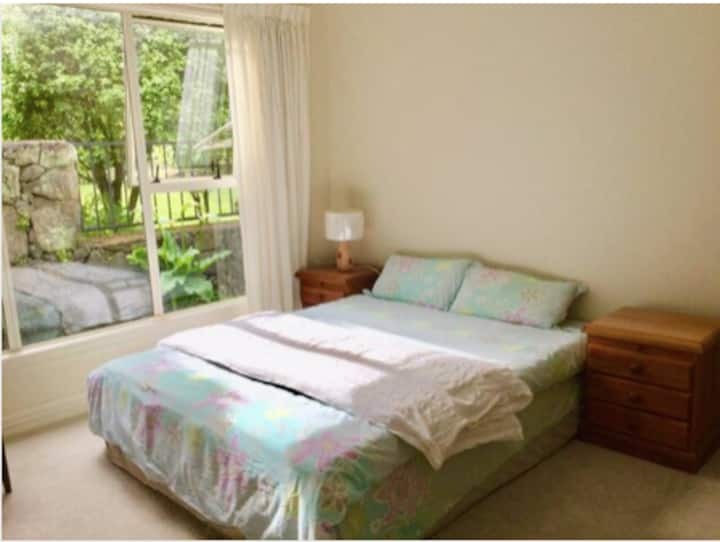 large room with queen sized bed, sofa and tv