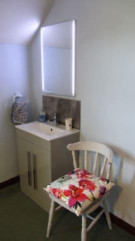 Extra wash basin in room with vanity mirror.