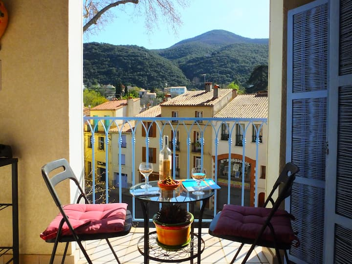 Ceret - Sunny Apt. with Lovely Views  - A/C & Wifi