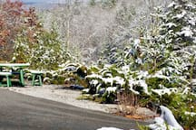 snow in yard, easy access to main road