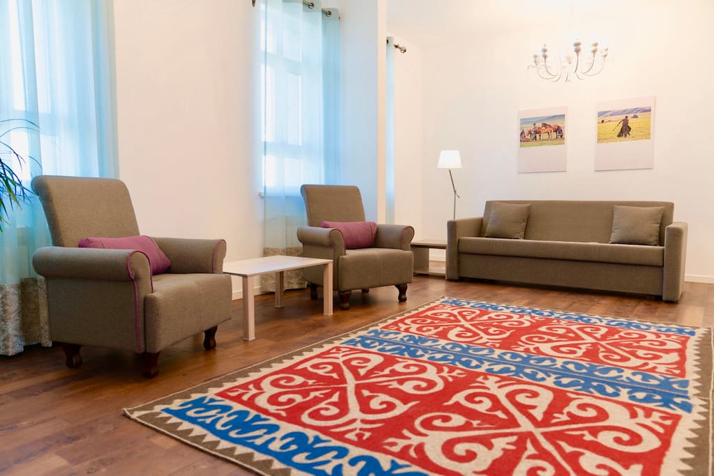 beautiful living room in ethno style of Kazakh people