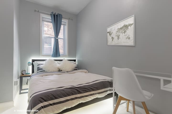 Bedroom #1: Soft Indirect LED lighting allows you to ease into the evening (supplement to overhead lamp). Plush memory foam queen mattress & memory foam pillows to optimize your sleep comfort