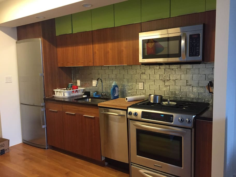 Kitchen with oven, microwave, and dishwasher