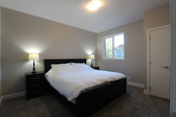 Mainfloor bedroom with queen bed, closet, TV and bathroom just off entrance.