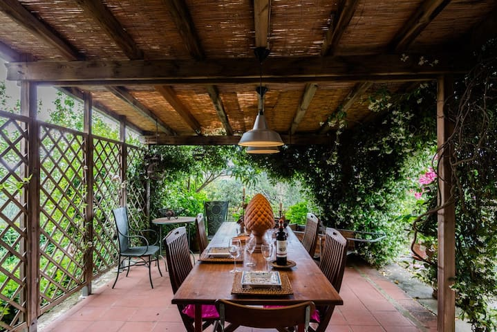 View of dining table on patio