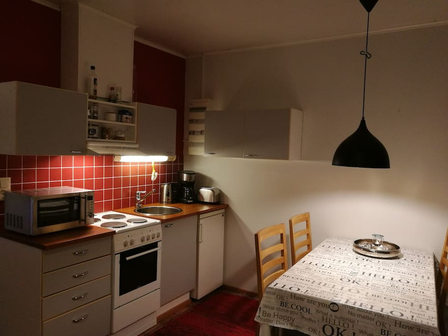 The kitchen is fully equipped for self-catering breakfasts and meals with owen, microwave owen, 2 fridges and 1 freezer as well as cutlery. We would appreciate, if you recycled the trash in the bins.
