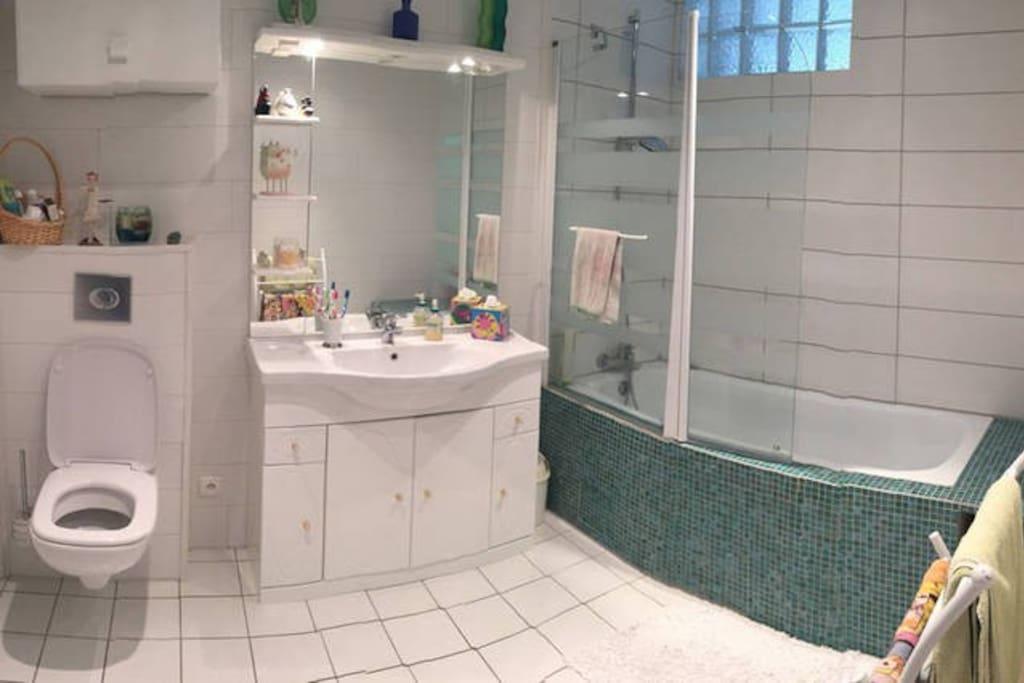 Salle de bain réservée aux invités.