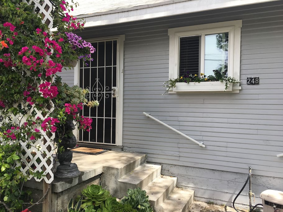 The Front Door is hidden behind the trellis of Bougainvillea On the Right side of the house