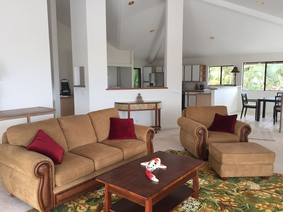 Spacious open living, dining and kitchen areas