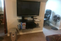 Directv with Blu-Ray Player.  Over 30 movies on hand.