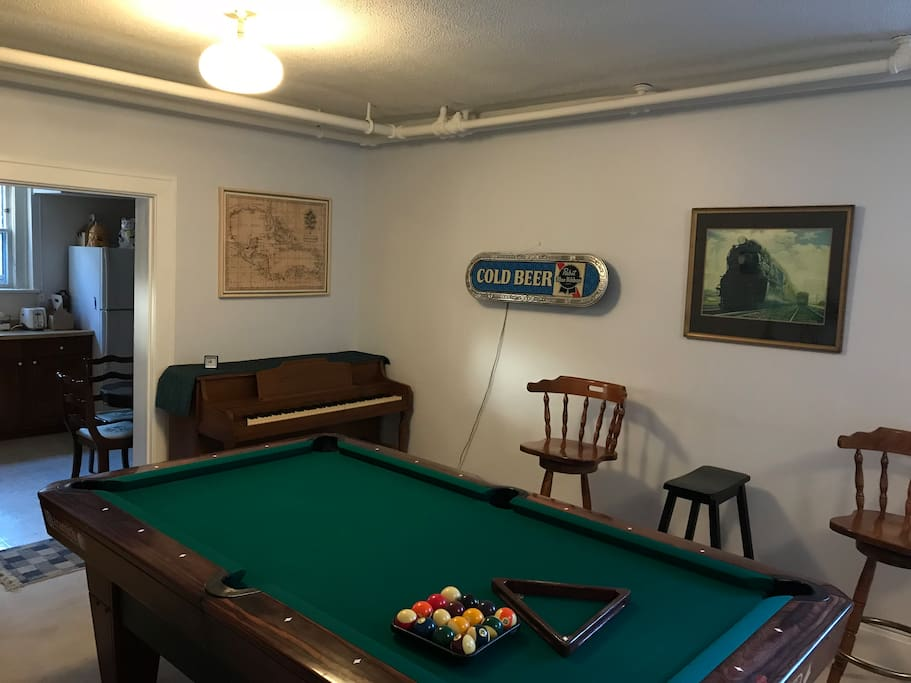 Pool Table/ Piano/ Seating