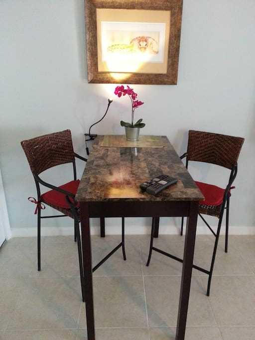 Cafe table in dining area or use as a workstation