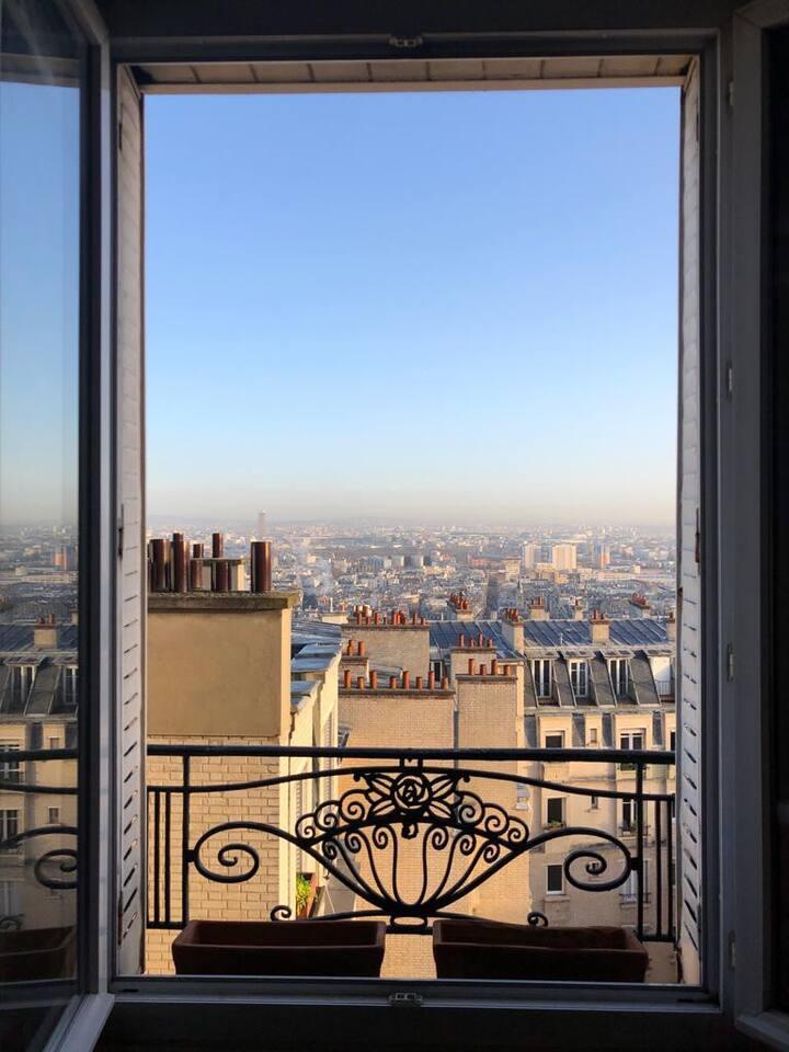 Studio Montmartre avec vue sur Paris