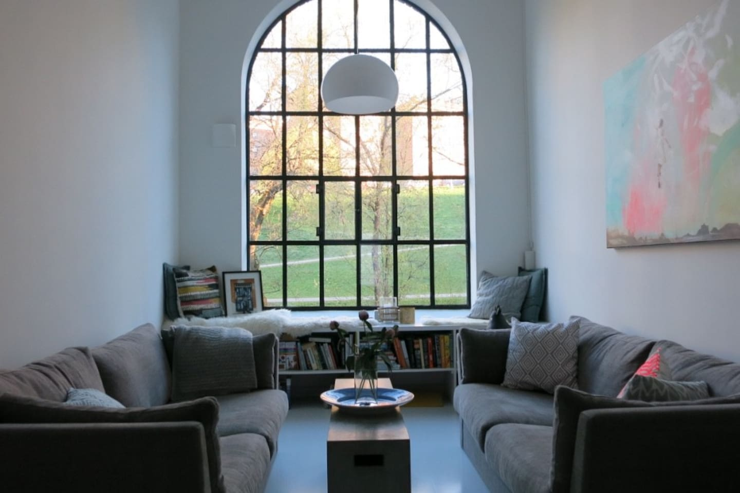 Living room with a great view of Akerselva