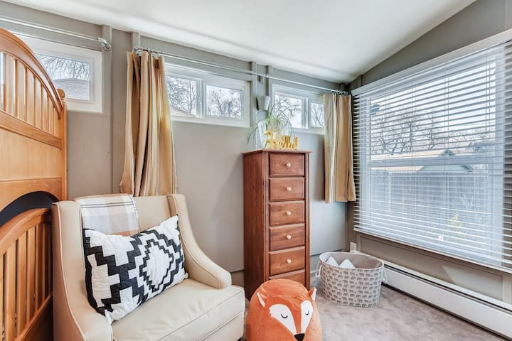Enjoy brand new comfy mattresses, high quality bedding and fresh linens for your comfort. The bunk room features a twin size bunk bed, dresser, hangers and a basket of children's toys. There is a high chair and pack n play for use as well.