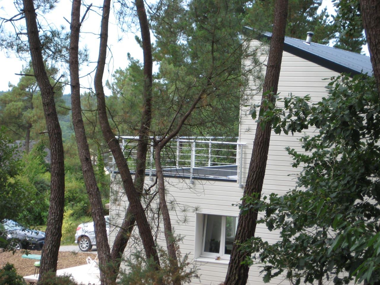 La maison et la nature environnante.