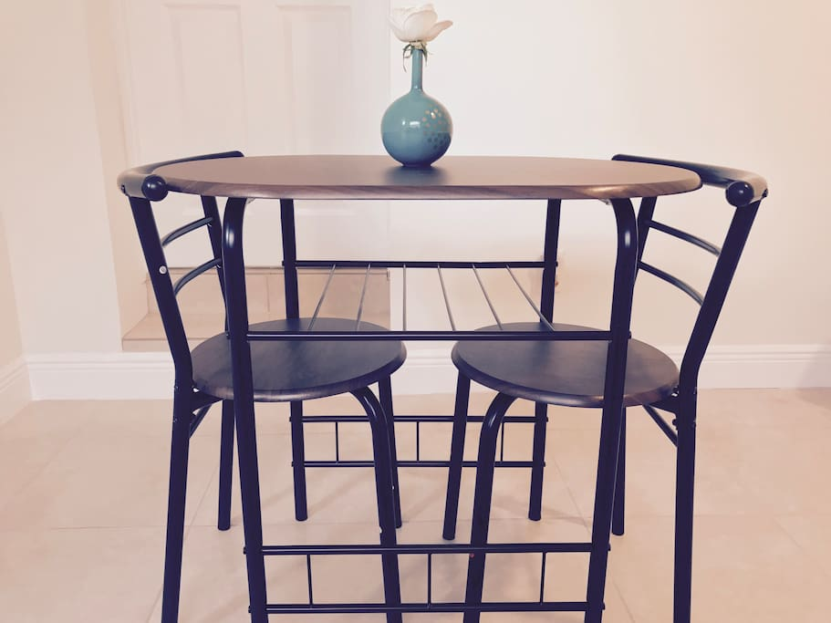 Breakfast, lunch and dinner seating for two.
