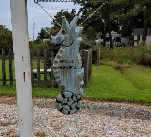 Our Mystic Seahorse sign to welcome you.