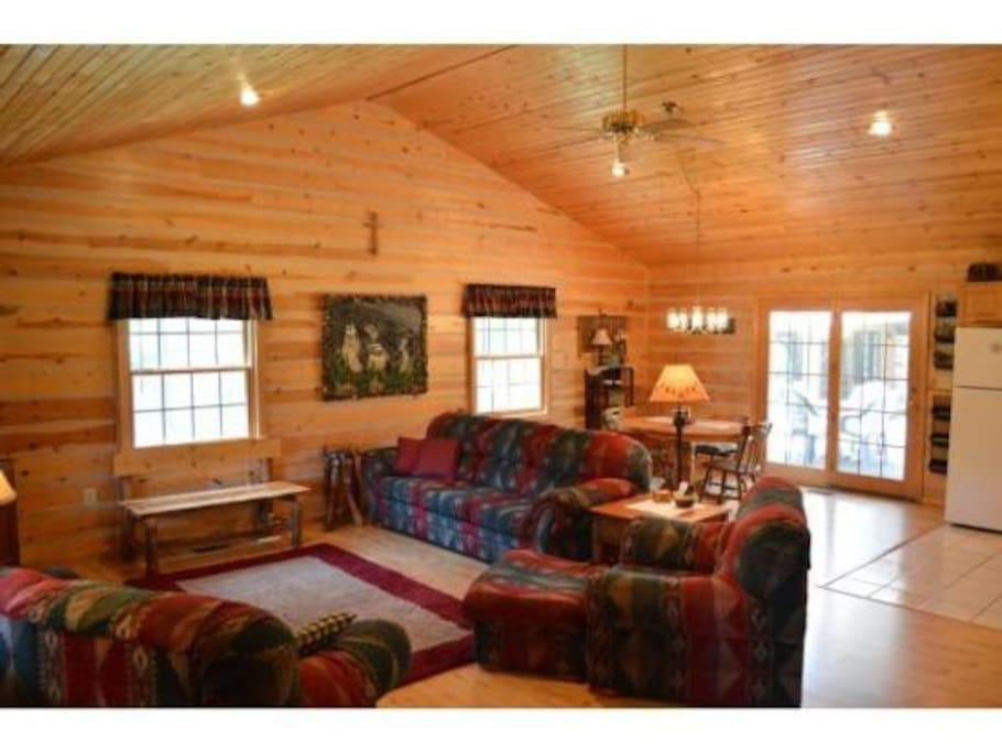 The great room has that log cabin vibe where you can sit back and relax