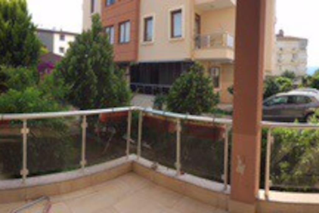 My balcony with pool & garden view