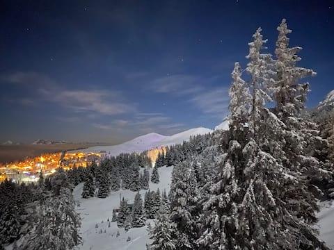 Logement 4 personnes skis aux pieds avec vue